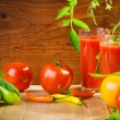 Stock Photo: Tomatoes and juice