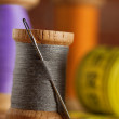 Sewing items macro — Stock Photo