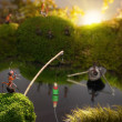 Ants fishing on sunrise, ant tales — Stock Photo