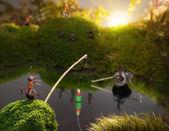 Ants fishing on sunrise, ant tales — Stock Photo