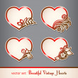 Set of vintage hearts - Stock Vector
