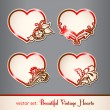 Stock Vector: Set of vintage hearts