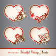 Set of vintage hearts — Stock Vector