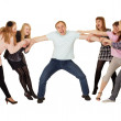 Cheerful family having fun on white — Stock Photo #7979636