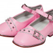 Stock Photo: Pink shoes for girls on white