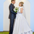 Bride and groom at wedding - Stock Photo