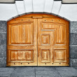 Large old wooden door - Stock Photo