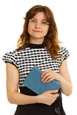Woman - adult student with a book on white background — Stock Photo