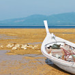 Stock Photo: Thai fishing wooden boat on coast