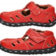 Stock Photo: Kids red leather sandals on white