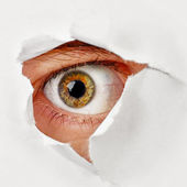 Eye looks through a hole in the paper - spy — Stock Photo