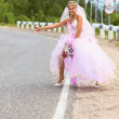 Stock Photo: Bride hitching on a road
