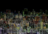 Abstract graphic composition - night metropolis — Stock Photo