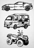 Three vehicles for different purposes - vector — Stock Vector