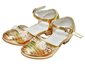 Scarpe d'oro per ragazza — Foto Stock