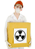 Scientist with a radioactive box — Stock Photo