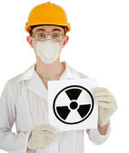 Scientist - een chemicus met het teken van straling — Stockfoto