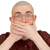 Man holding back vulgar jokes — Stock Photo