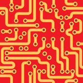 Vector seamless texture - red circuit board — Stock Vector