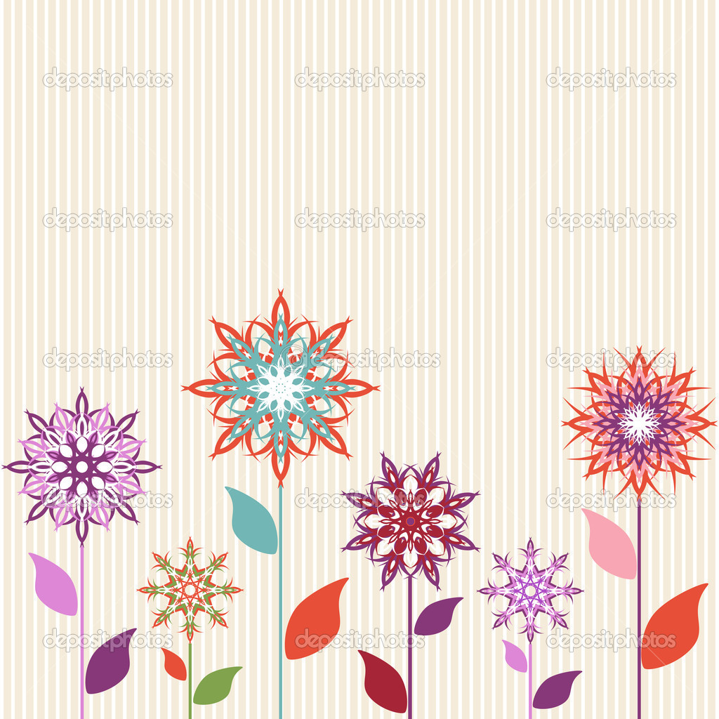 Vector illustration of an abstract flowers on striped background  Stock Vector #7994065