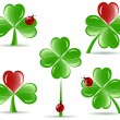 Royalty-Free Stock Векторное изображение: Vector illustration of set of   shamrocks with four lucky leaves