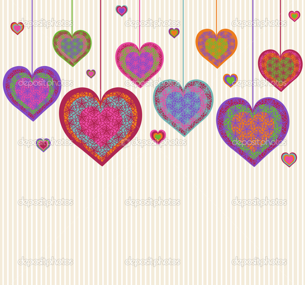 Vector illustration of a heart background. Valentine's Day theme  Imagens vectoriais em stock #8377689