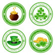 Vector illustration of a set of green  stamps with four leaf clo — Stock Vector