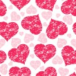 Vector illustration of a seamless pattern with grunge hearts — Stock Vector