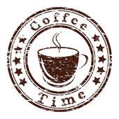 кофе векторный гранж штамп времени с чашкой — Cтоковый вектор