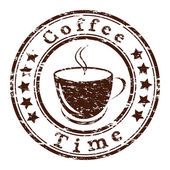 Vector coffee time grunge stamp with a cup — Vector de stock