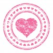 Vector illustrator of a grunge pink rubber stamp with heart iso — Stock Vector