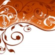 Royalty-Free Stock Imagen vectorial: Music background with notes and flowers. vector illustration