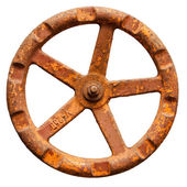 The old rusty metal valve, isolated on a white background — Stock Photo