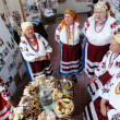 Women dressed up in national ukrainian costumes — Stock Photo