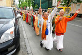 Hare Krishna followers — Stock Photo