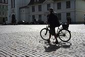 Man walking his bicycle — Stock Photo
