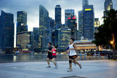 Running in Singapore — Stock Photo
