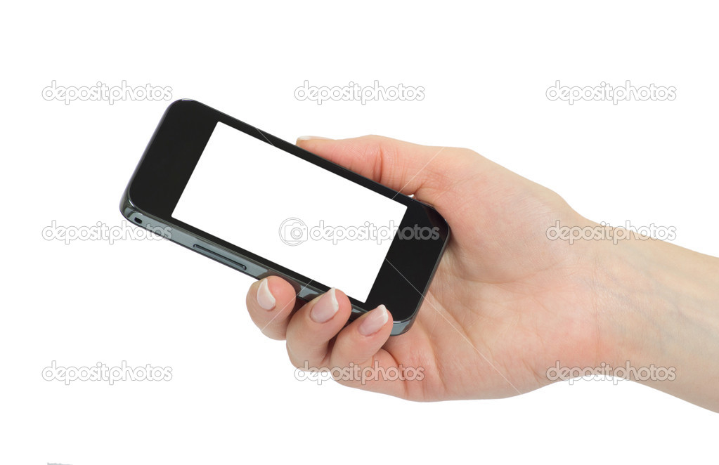 Hand holding mobile smart phone with blank screen  Stock Photo #10041803