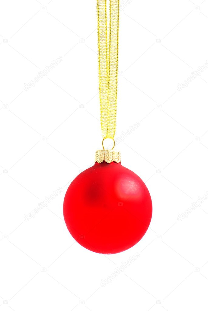Christmas ball hanging with ribbons on white background — Stock Photo #8053203