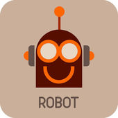 Divertido robot - icono de vector — Vector de stock