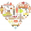 Travel Icons in Heart Shape — Stock Vector
