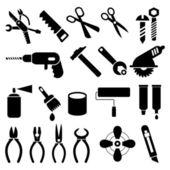 Herramientas de trabajo - conjunto de iconos de vector — Vector de stock