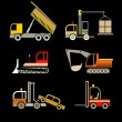 Construction Vehicles - set of vector icons — Stock Vector