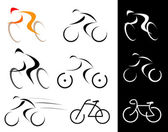 Cyclist - isolated vector icons — Stock Vector