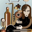 Woman with musical instruments — Stock Vector