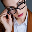 Beautiful business woman with glasses. Close-up portrait — Foto de Stock