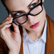 Beautiful business woman with glasses. Close-up portrait — ストック写真