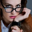 Beautiful business woman with glasses. Close-up portrait — Stockfoto