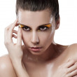 Young sensuality beautiful teen with clean skin with splash of w — Стоковая фотография
