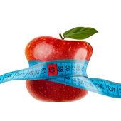 Rött äpple med mätning isolerad på vit — Stockfoto